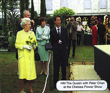 HM The Queen with Peter Chan at the Chelsea at the Chelsea Flower Show